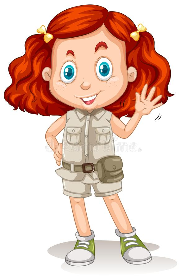 La ragazza con capelli rossi in Safari Suit illustrazione vettoriale
