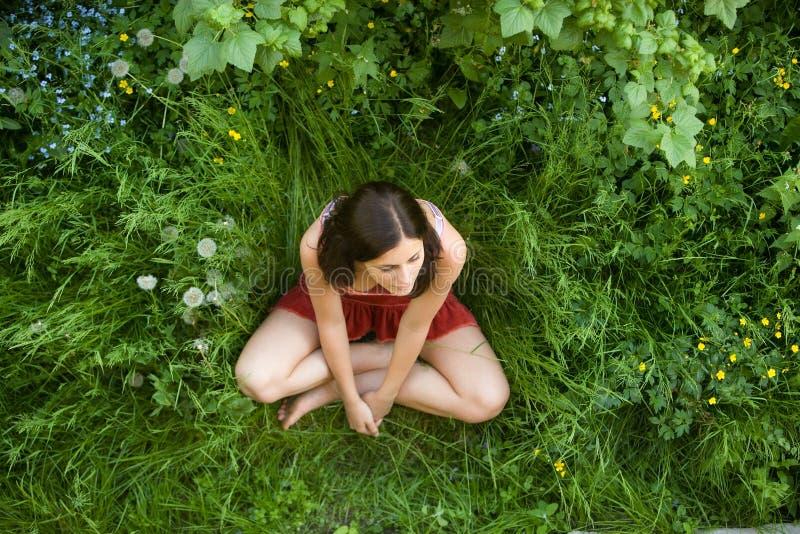 La ragazza con capelli scuri si siede su un'erba verde fotografie stock libere da diritti