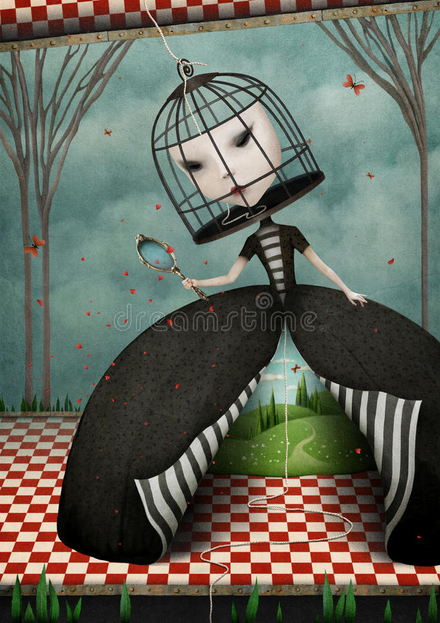 La ragazza con il fronte in gabbia illustrazione vettoriale