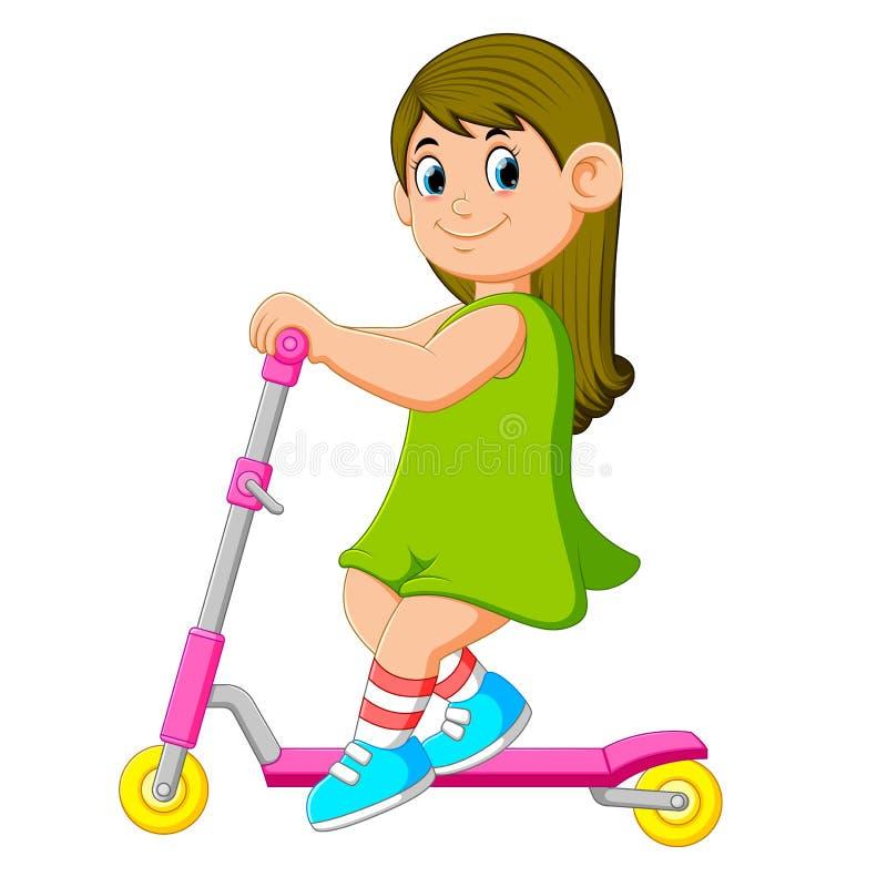 La ragazza con il vestito verde sta giocando sul motorino illustrazione vettoriale
