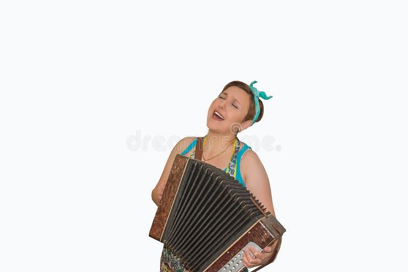 La ragazza con l'isolato della fisarmonica immagini stock