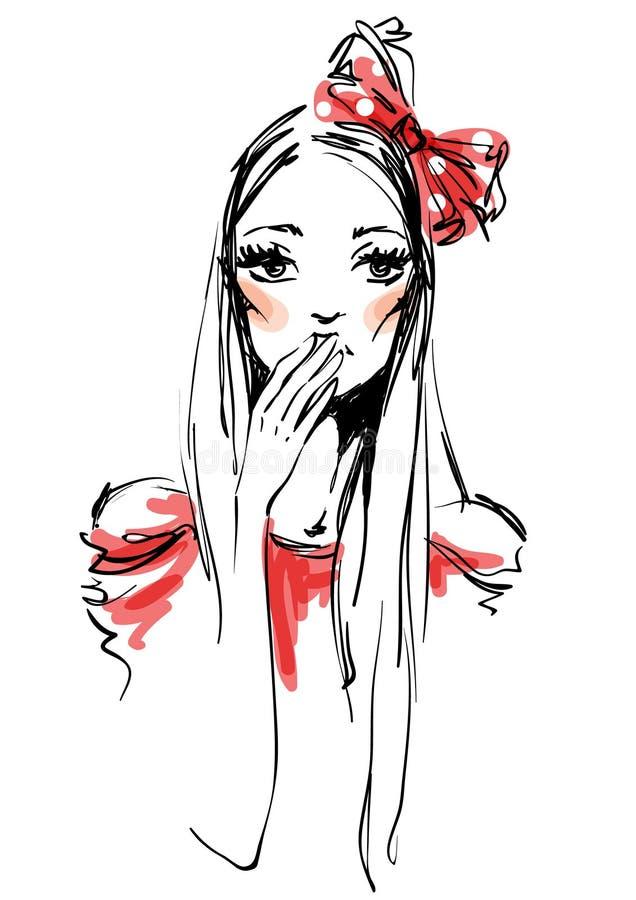 La ragazza con un arco rosso illustrazione di stock