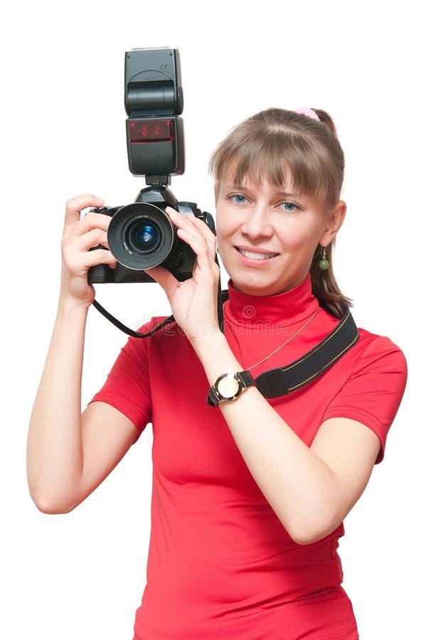 La ragazza con una macchina fotografica immagine stock - Immagine di una ragazza a colori ...