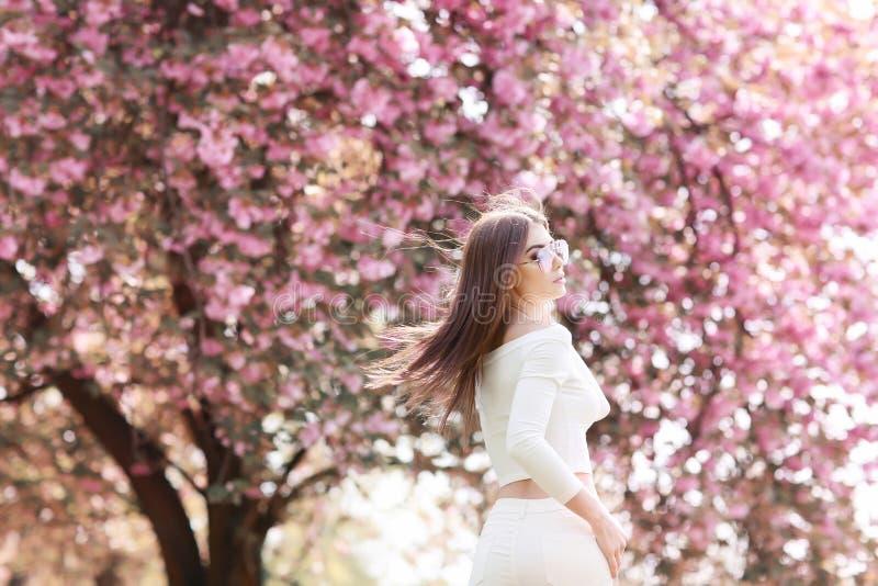 La ragazza da solo bella con un'acconciatura romantica e un trucco professionale gode di un odore dei colori rosa in un giardino  fotografia stock libera da diritti