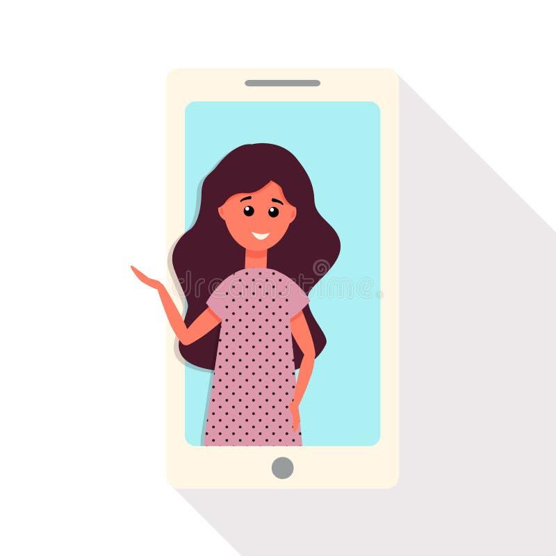 La ragazza dallo smartphone parla tramite l'illustrazione di vettore di video comunicazione illustrazione vettoriale