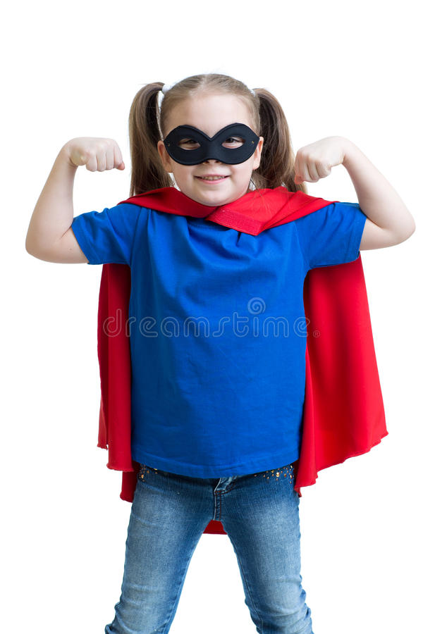 La ragazza del bambino gioca il supereroe fotografia stock