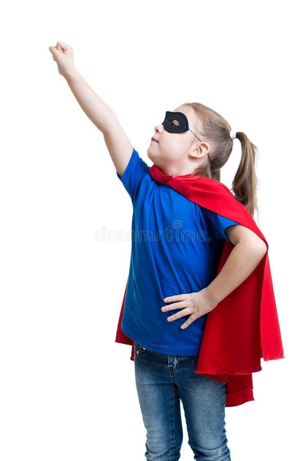 La ragazza del bambino gioca il supereroe fotografie stock libere da diritti