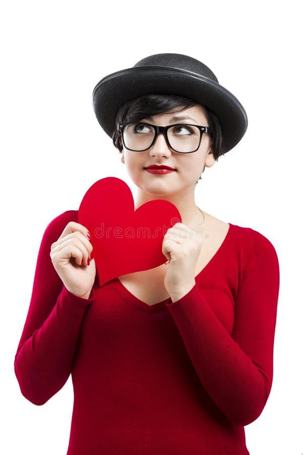 La ragazza del biglietto di S. Valentino fotografia stock