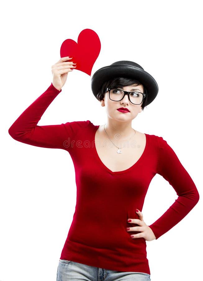 La ragazza del biglietto di S. Valentino immagini stock