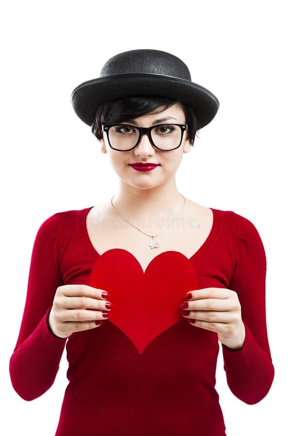 La ragazza del biglietto di S. Valentino fotografie stock libere da diritti