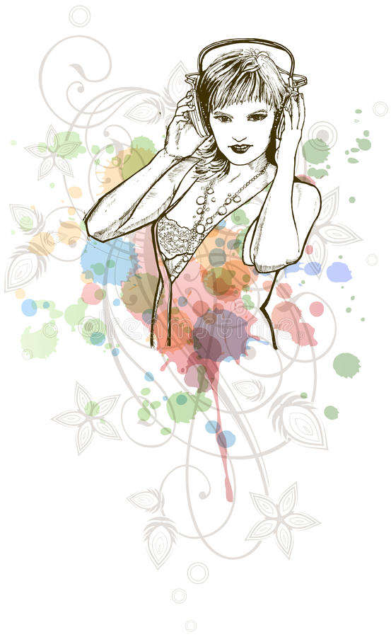 La ragazza del DJ & i colori di musica mescolano - l'ornamento floreale royalty illustrazione gratis