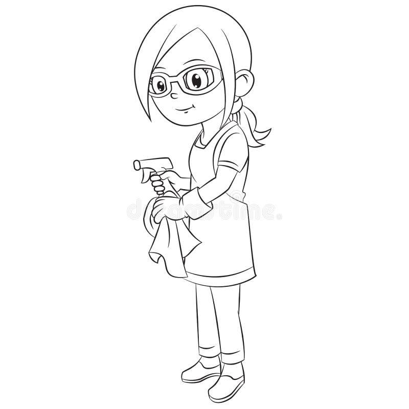 La ragazza del fumetto che indossa i vetri stava pulendo a casa facendo uso dello spruzzo d'acqua illustrazione vettoriale