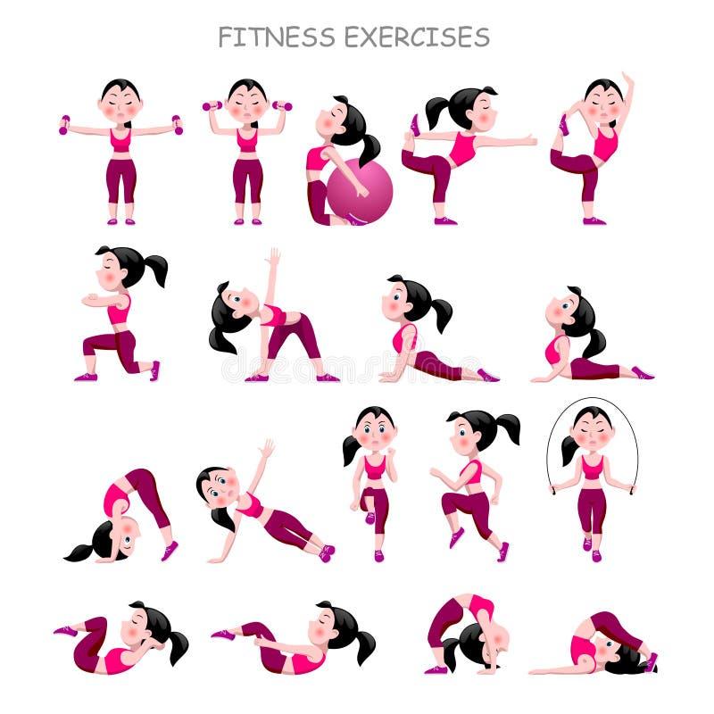 La ragazza del fumetto in vestito rosa che fa la forma fisica si esercita su wh illustrazione di stock