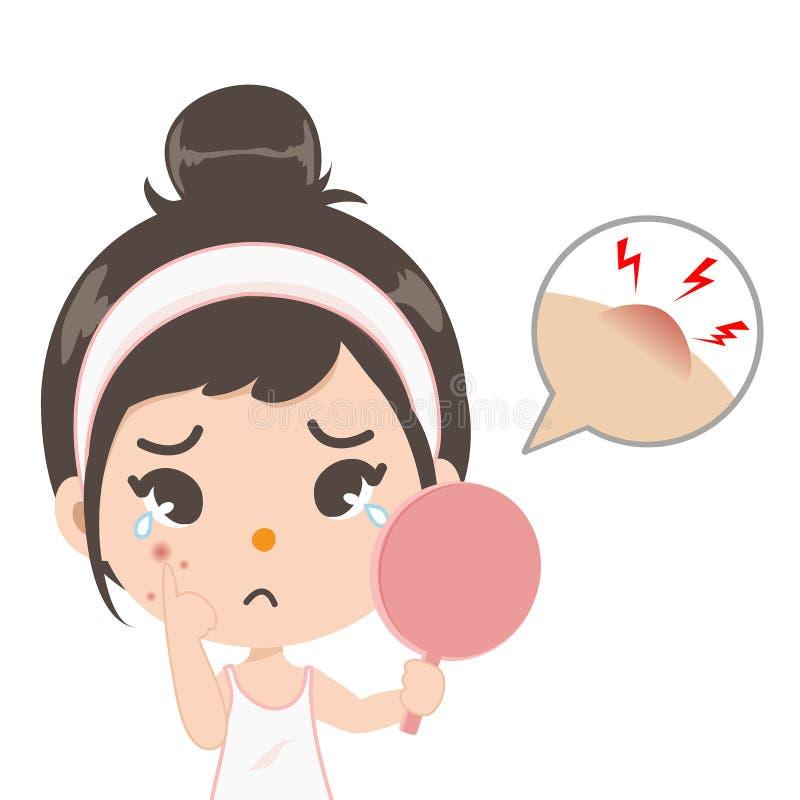 La ragazza dell'acne splende nello specchio illustrazione vettoriale