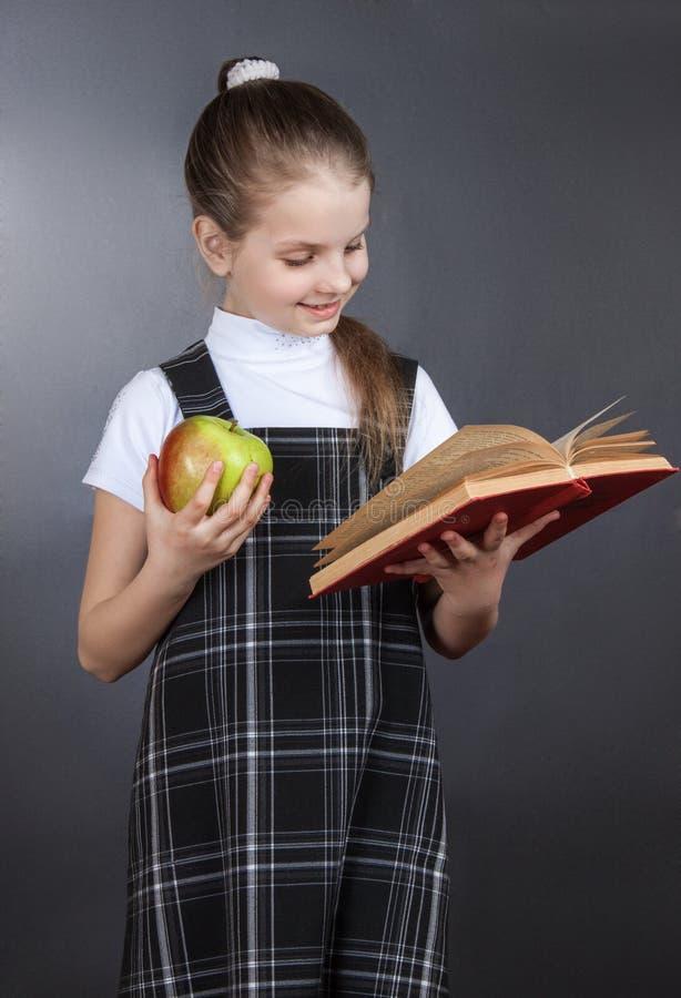 La ragazza della scuola della ragazza legge un libro immagine stock