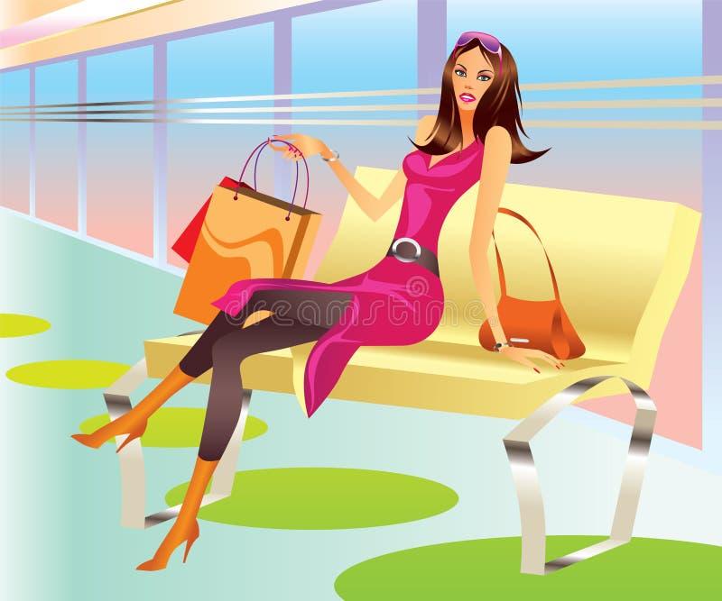 La ragazza di acquisto di modo con il sacchetto si distende in viale illustrazione vettoriale