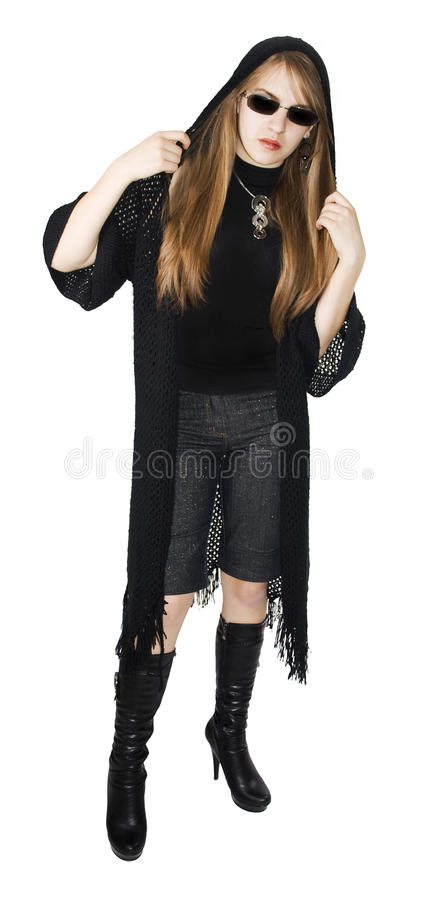 La ragazza di modo ha i vestiti neri. fotografia stock