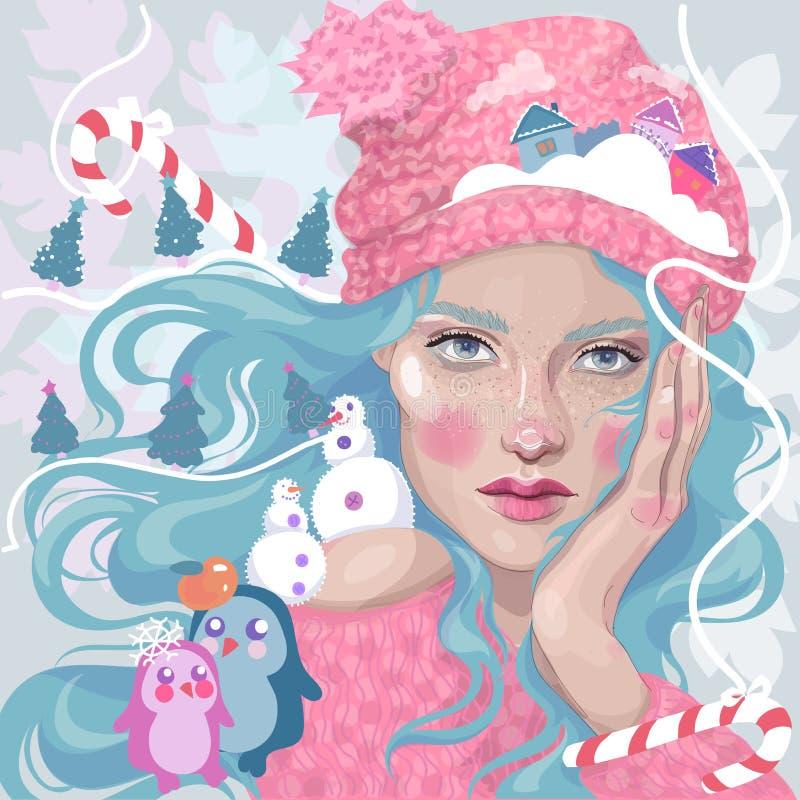 La ragazza di Natale, nevica ragazza, città dell'inverno della caramella illustrazione vettoriale