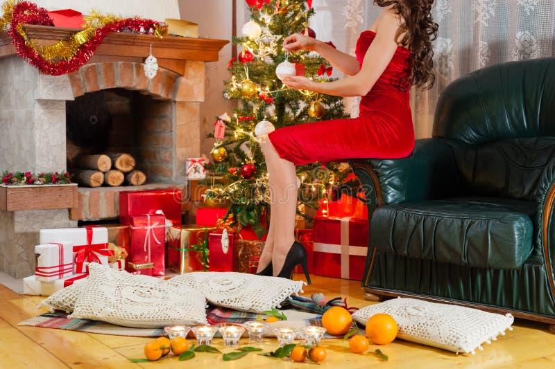 La ragazza di Santa felice di festa immagine stock libera da diritti