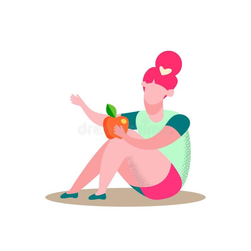 La ragazza di seduta tiene l'illustrazione piana di vettore di Apple illustrazione di stock