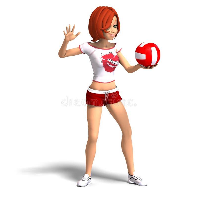 La ragazza di Toon gioca la pallavolo illustrazione di stock