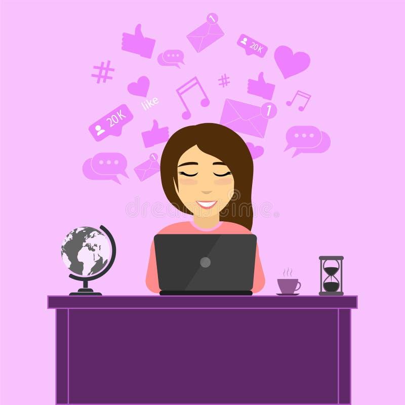 La ragazza dietro il computer portatile illustrazione vettoriale