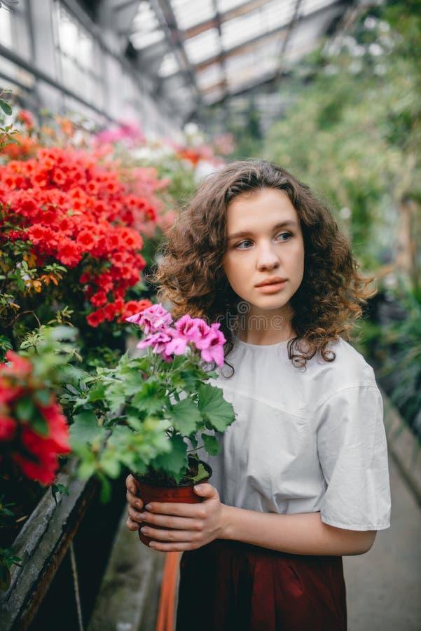 La ragazza ed i suoi fiori in capelli immagine stock libera da diritti