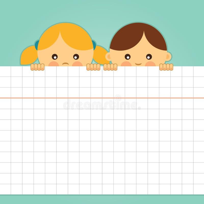 La ragazza ed il ragazzo che tengono una carta quadrata in bianco rivestono. illustrazione vettoriale