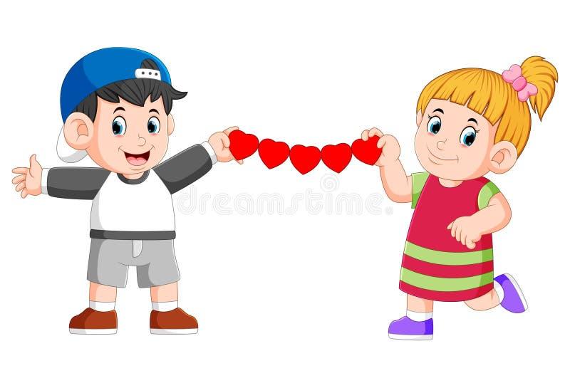 la ragazza ed il ragazzo stanno giudicando l'amore continuato fatto da carta illustrazione vettoriale