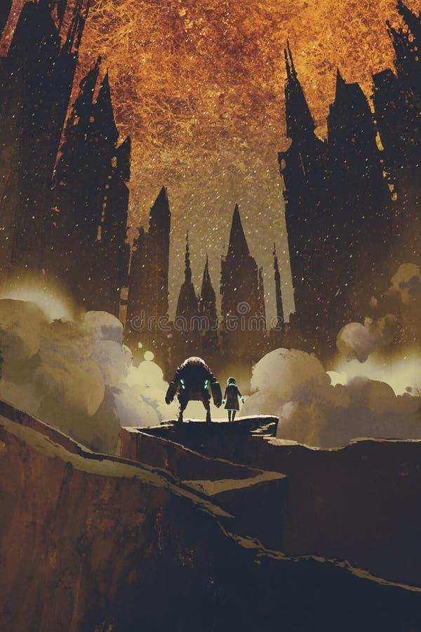 La ragazza ed il robot che stanno sul percorso della roccia che esamina i castelli scuri illustrazione di stock