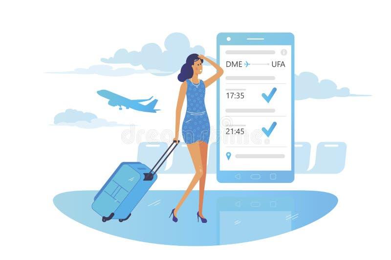 La ragazza esamina le informazioni di volo sullo smartphone royalty illustrazione gratis