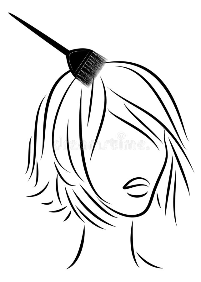 La ragazza fa i bei capelli Spazzoli i capelli delle tinture per capelli illustation di vettore royalty illustrazione gratis