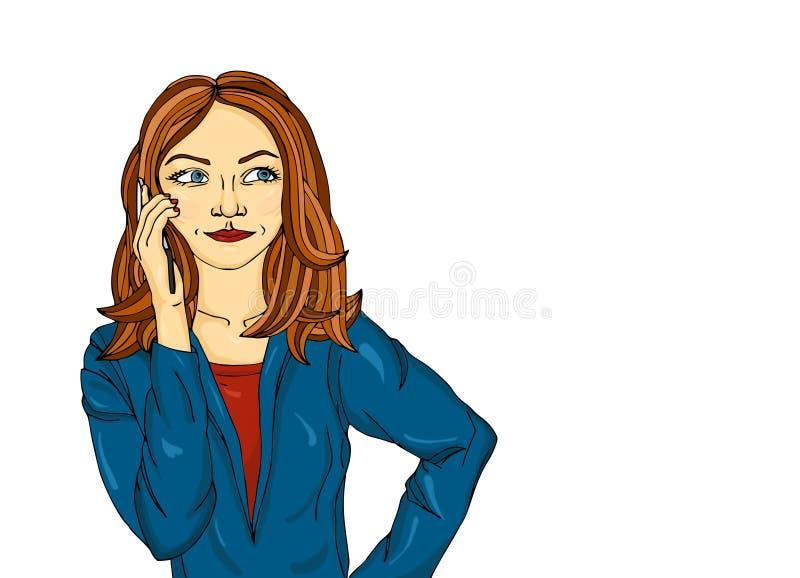 La ragazza felice parla dal telefono cellulare e sorride Risposte della giovane donna illustrazione di stock