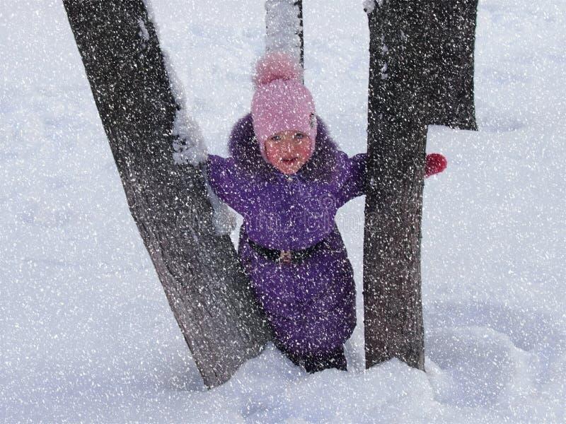 La ragazza fra due tronchi degli alberi fotografia stock