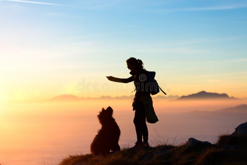 La ragazza gioca con il suo cane nella montagna immagine stock