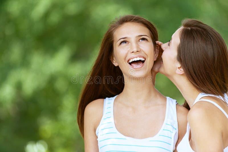 La ragazza gli dice il pettegolezzo dell'amico fotografia stock