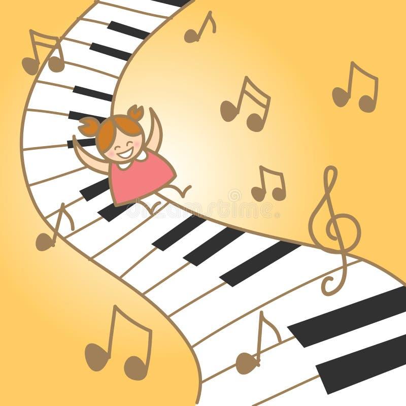 La ragazza gode dell'estratto musicale del piano illustrazione vettoriale
