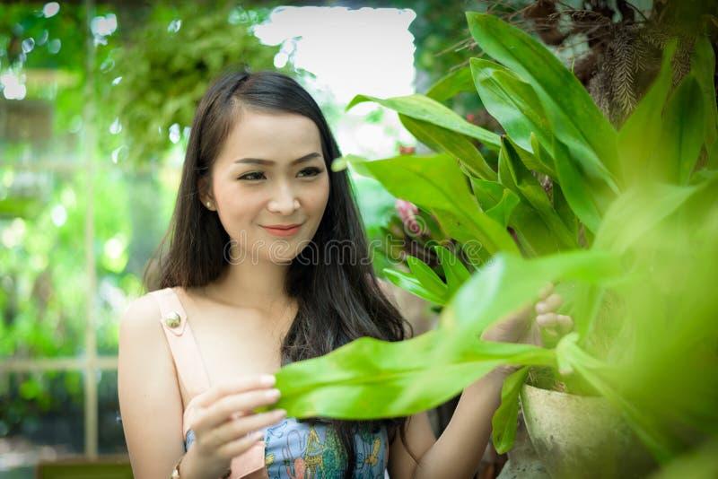 La ragazza graziosa asiatica ha il rilassamento con felice e sorridere a poco caffè del giardino dell'albero, la provincia di Nak immagini stock libere da diritti