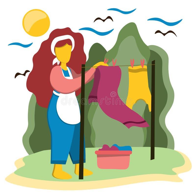 La ragazza graziosa che appende sulla via ha lavato i vestiti puliti Illustrazione nello stile piano illustrazione di stock