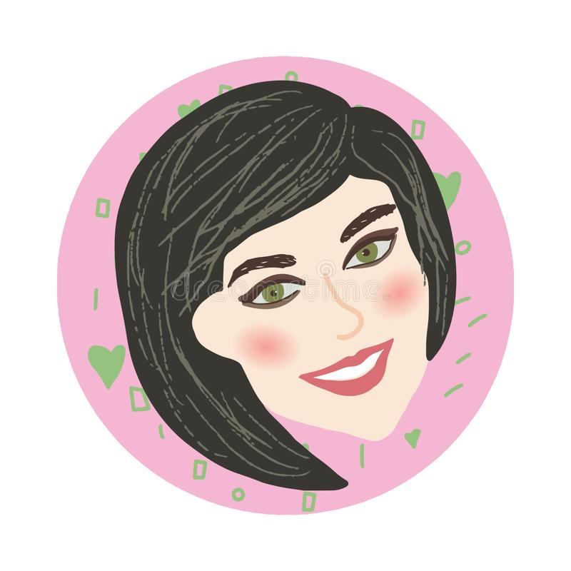 La ragazza graziosa sorride nel telaio rotondo rosa royalty illustrazione gratis