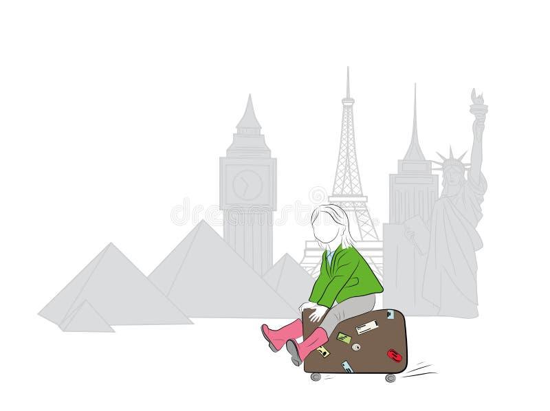 La ragazza guida su una valigia lungo le viste del mondo il concetto di viaggio Illustrazione di vettore illustrazione di stock