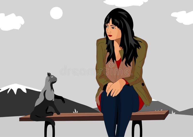 La ragazza ha offenduto la seduta su un banco ed accanto al gatto gli esprime il parere illustrazione vettoriale