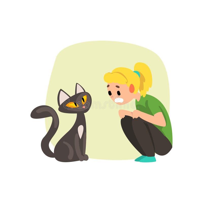La ragazza ha spaventato dal gatto, ragazza che soffre dal ailurophobia, illustrazione umana di vettore di concetto di timore su  illustrazione di stock