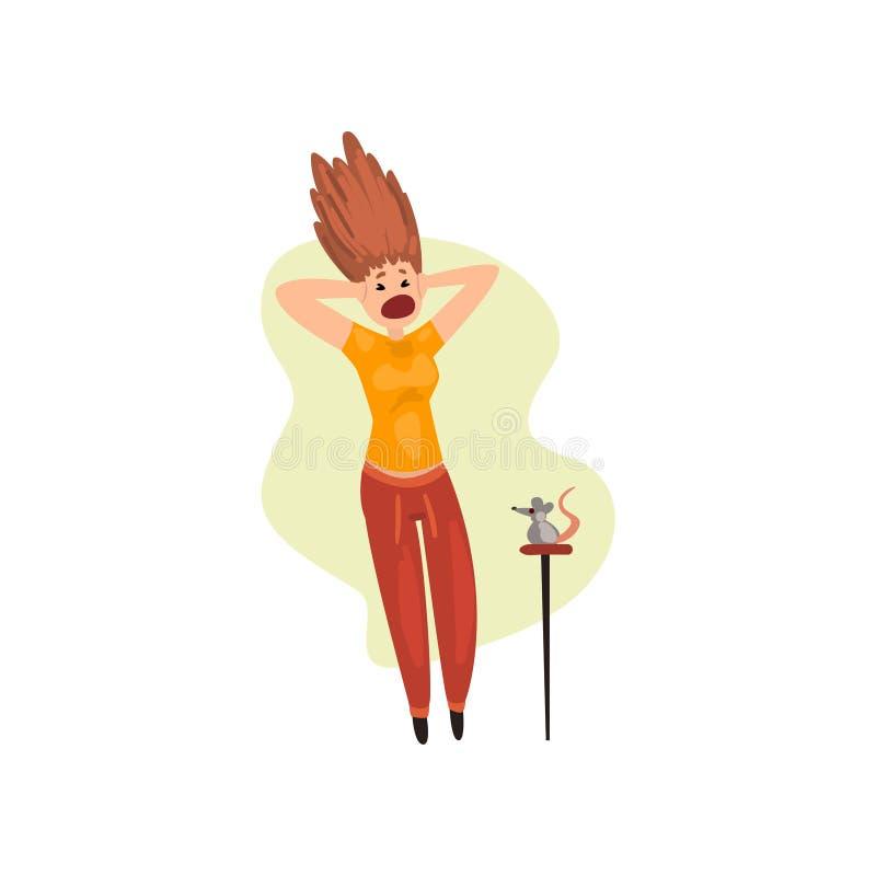 La ragazza ha spaventato dal topo, donna che soffre dal musophobia, illustrazione umana di vettore di concetto di timore su un fo royalty illustrazione gratis