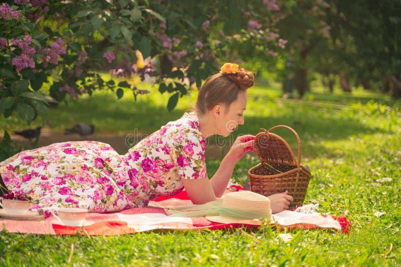 La ragazza incantante del pinup dell'innamorato in un vestito dall'estate su una coperta a quadretti nel parco vicino ai cespugli fotografia stock