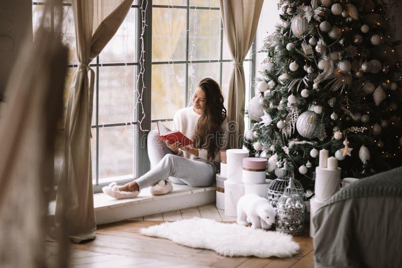 La ragazza mora piacevole vestita in pantaloni, maglione e pantofole calde legge un libro che si siede sul davanzale di un panora fotografia stock libera da diritti