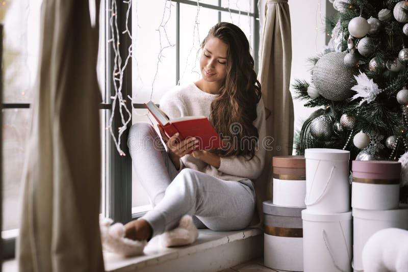 La ragazza mora piacevole vestita in pantaloni, maglione e pantofole calde legge un libro che si siede sul davanzale di un panora immagine stock libera da diritti