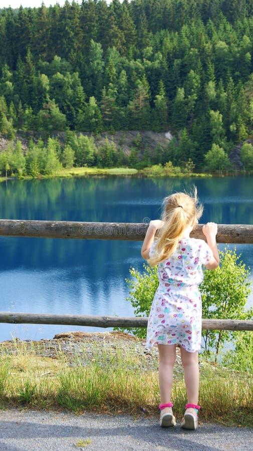 La ragazza nel lago della montagna immagini stock libere da diritti