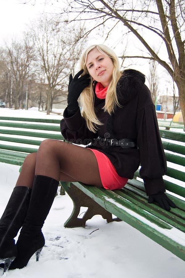 La ragazza nella sosta di inverno su un banco immagini stock