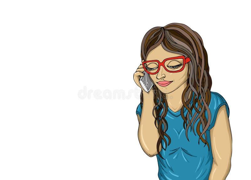 La ragazza parla il telefono cellulare e guardando giù Risposte della giovane donna illustrazione vettoriale